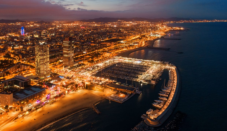 Barcelona coast night