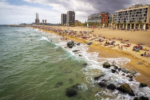 A view of Barceloneta Beach in Barcelona, Spain