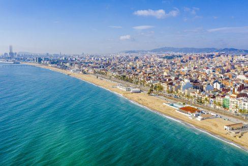 Badalona Spain Coast and Beach. Spain